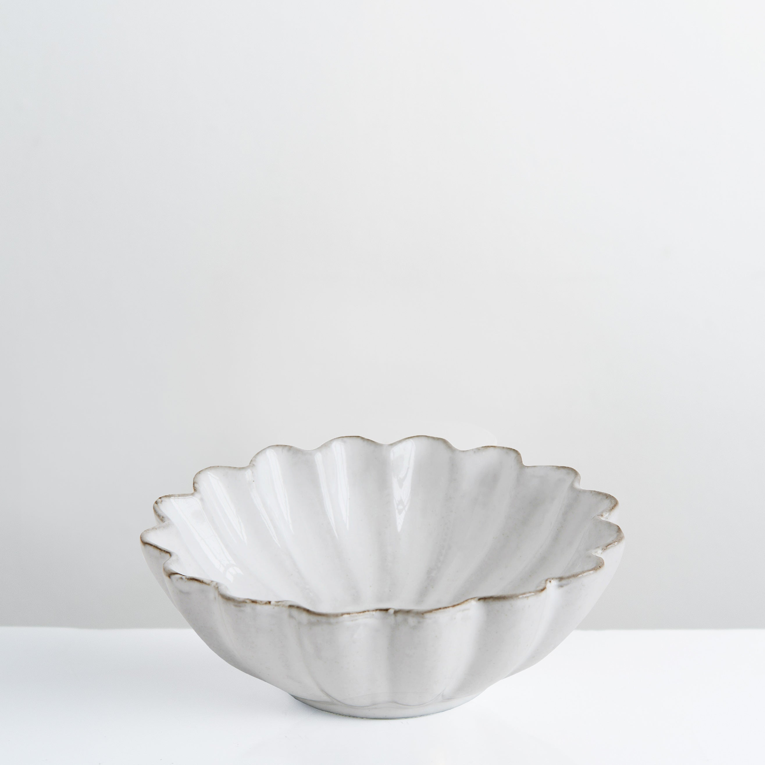 Handmade white glazed Flora bowl
