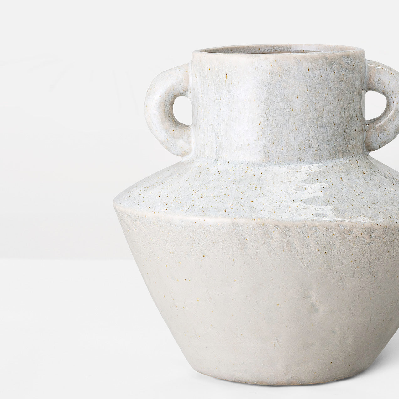 Handcrafted pale grey glazed stoneware vase