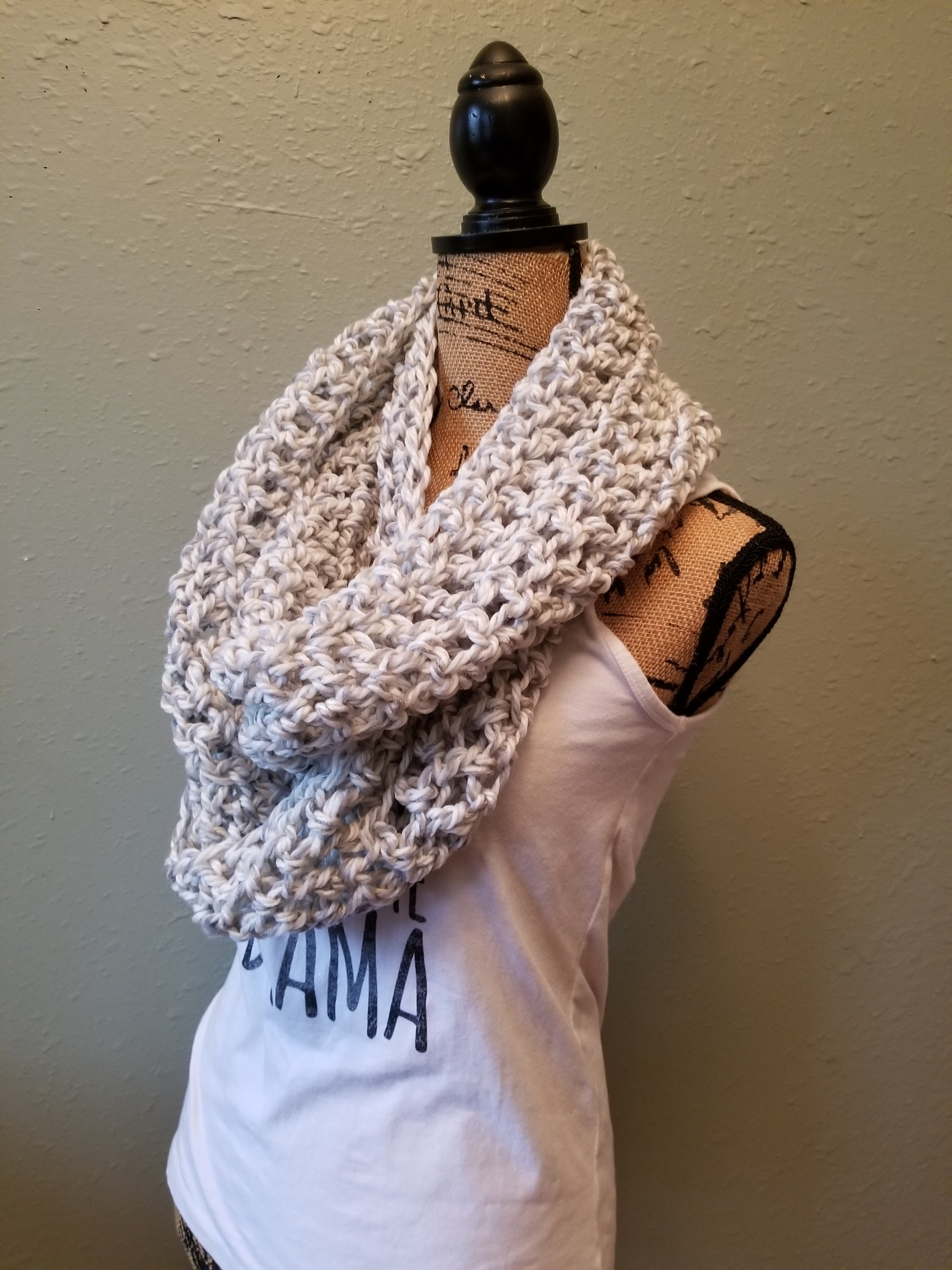 Gray/White Infinity Scarf