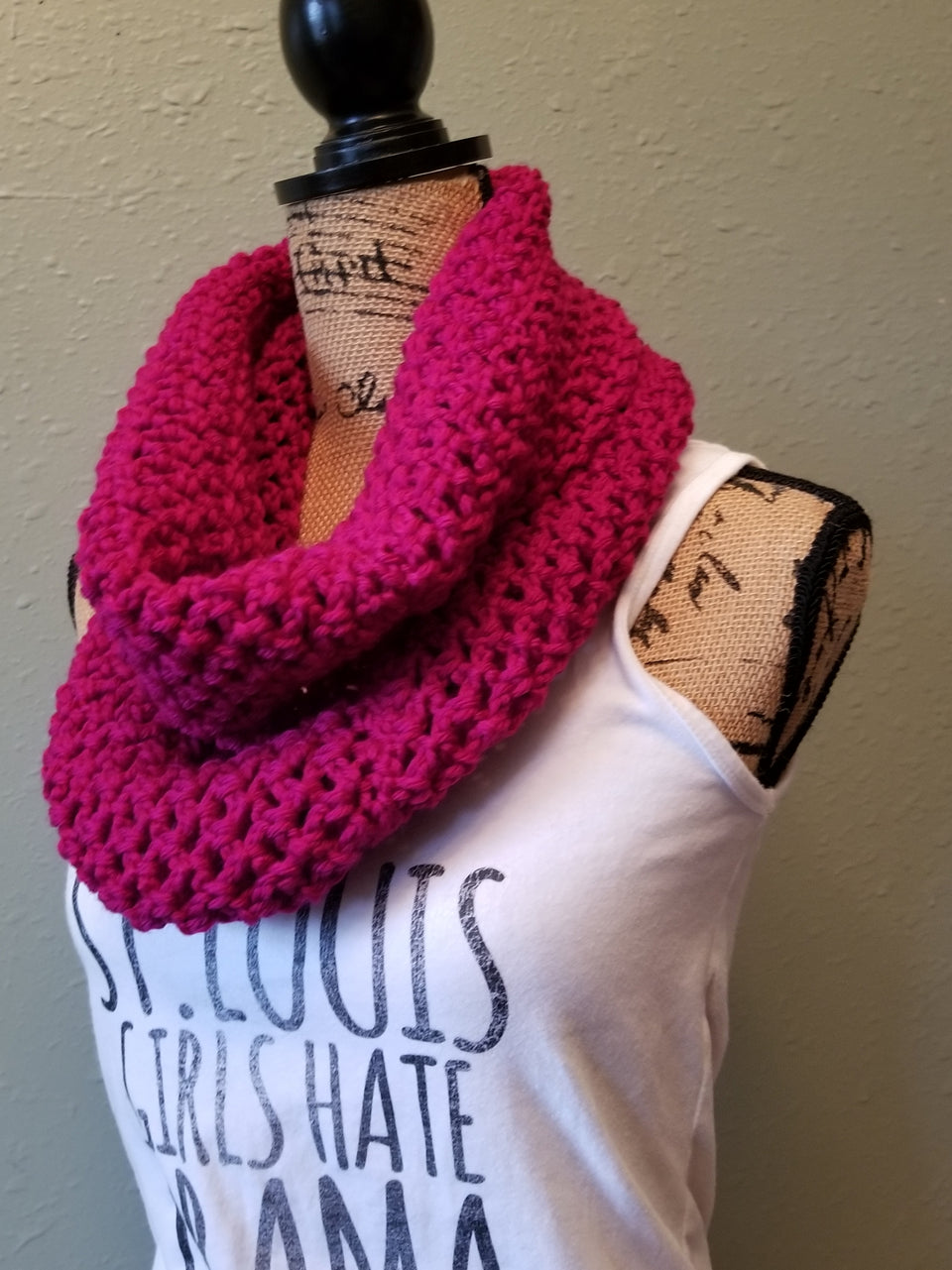 Cranberry Waffle Cowl