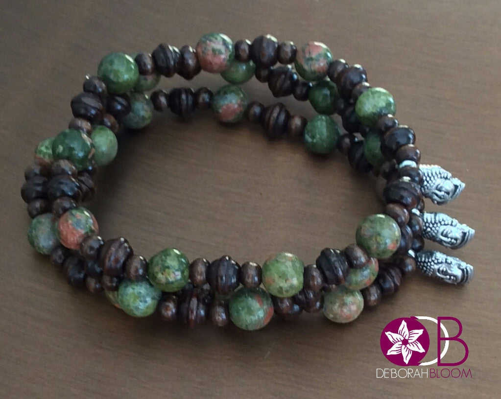 Unakite and Wood Stack Bracelet with Buddah - De'Borah Bloom