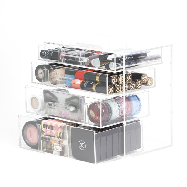 Aubrey Makeup Organizer Large 4 Drawer Modular with Acrylic Handle
