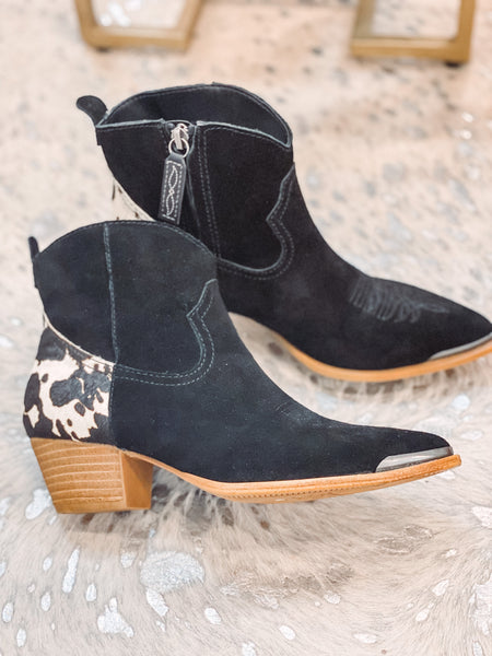 Black Short Cowhide Booties