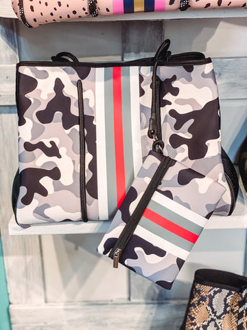 Black Camo with Red Tote