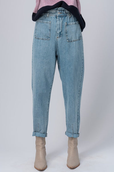 Light Denim Paper Bag Pants