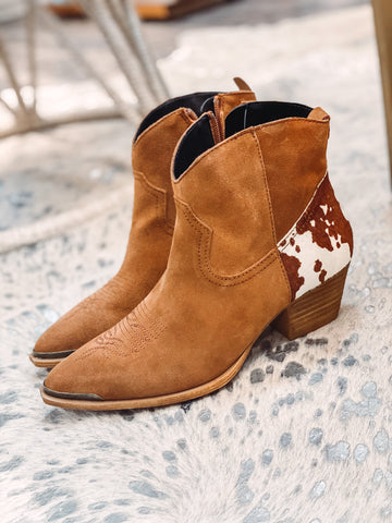 Tan Short Cowhide Booties