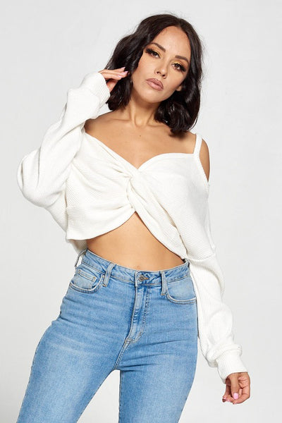 Open Shoulder Crop Top