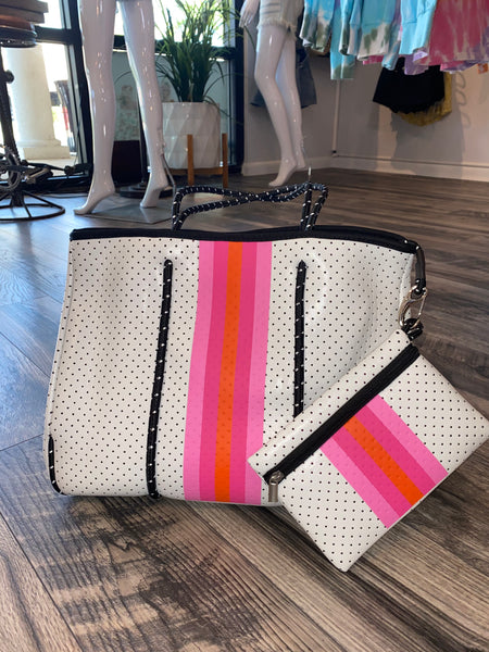 Large White with Colors Tote