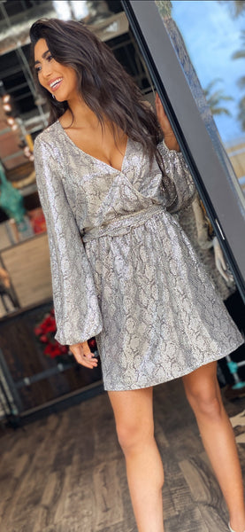 Sequins Snake Wrap Dress