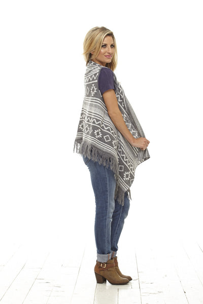 Grey Patterned Fringe Vest