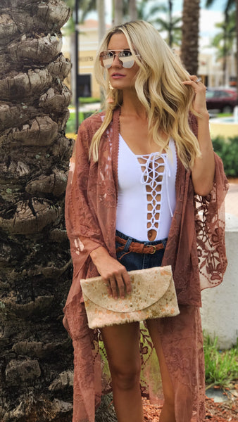 Beach Kimono W/ Sleeves Coral/Burnt Orange