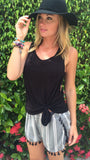 Black and White Tassel Shorts