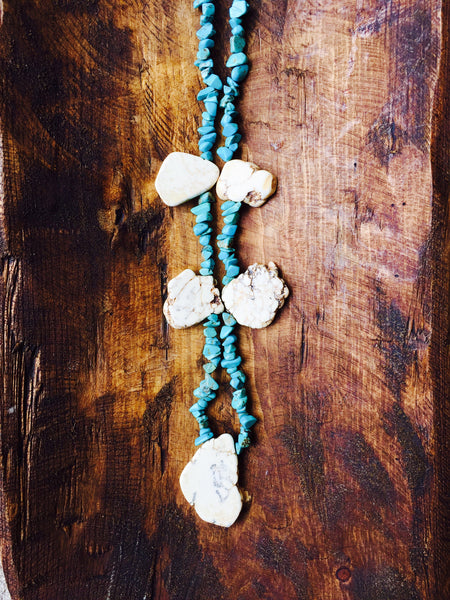 Turquoise and White Stone Necklace