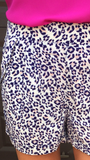 Blue and Pink Animal Print Shorts