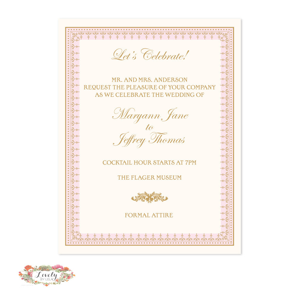 Blush and Gold Reception Card