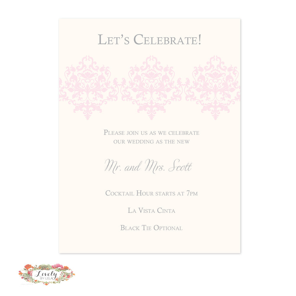 Blush and Silver Wedding Reception Card
