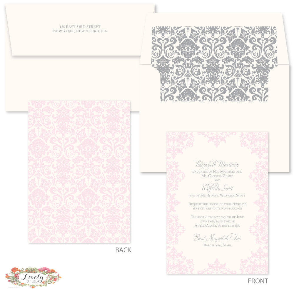 Blush and Silver Wedding Invitations