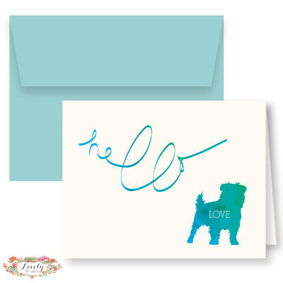 Hello Love Puppy Note Cards - Blue