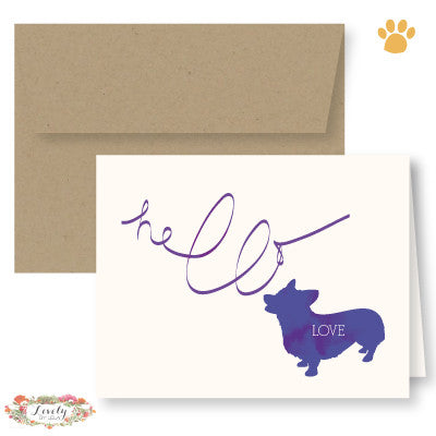 Hello Love Puppy Note Cards - Corgi