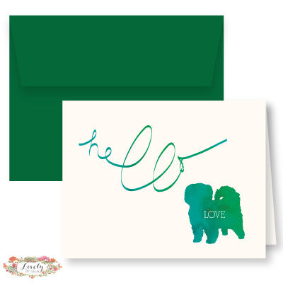 Hello Love Puppy Note Cards - Green