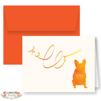 Hello Love Puppy Note Cards - Orange