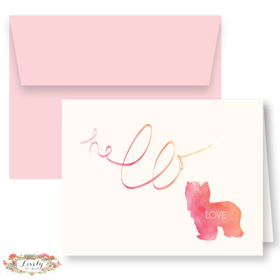 Hello Love Puppy Note Cards - Pink