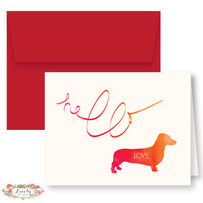 Hello Love Puppy Note Cards - Red
