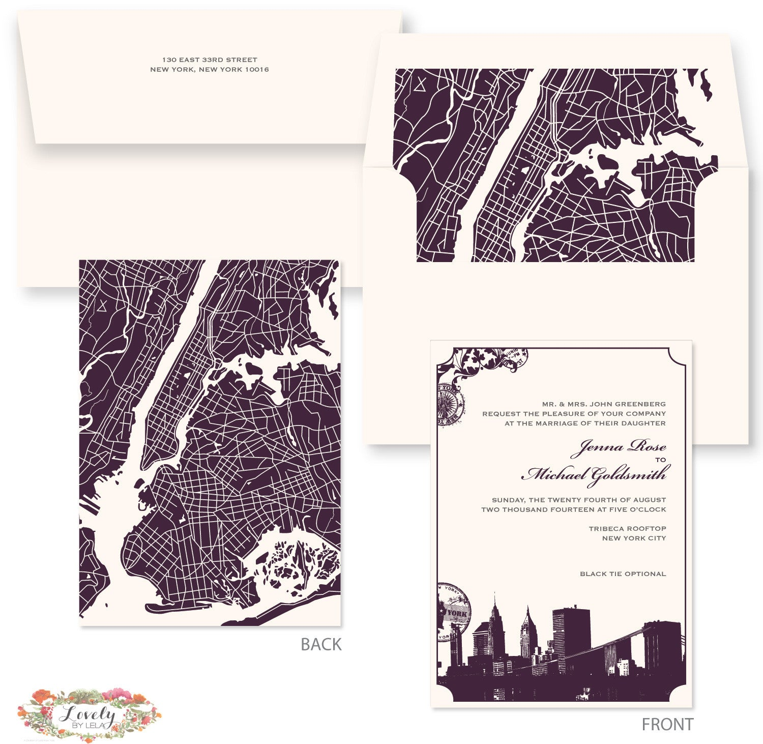 NYC Map Wedding Invitations | LovelybyLela