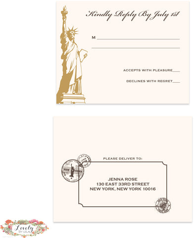 NYC Map Wedding Response Set