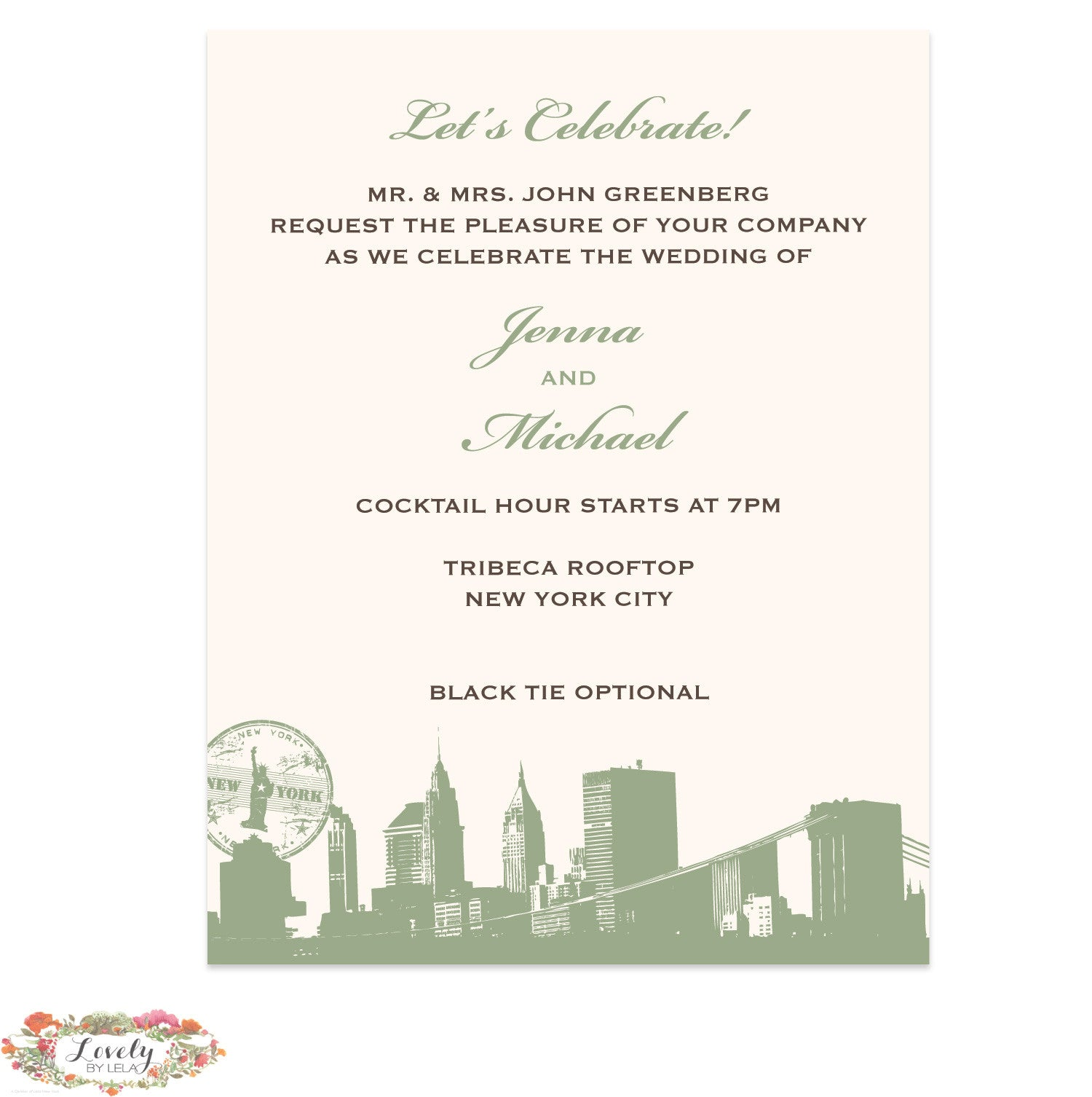 NYC Map Wedding Reception Card
