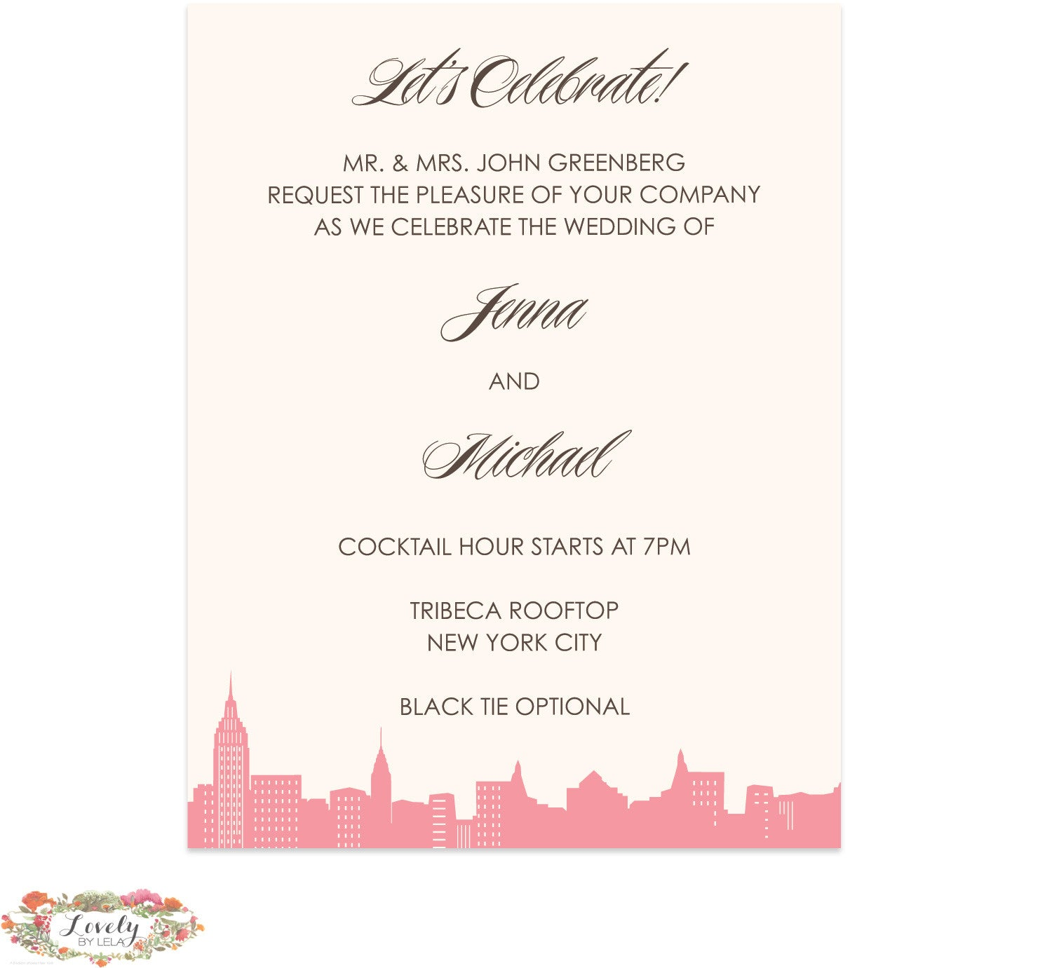 NYC Skyline Wedding Reception Card