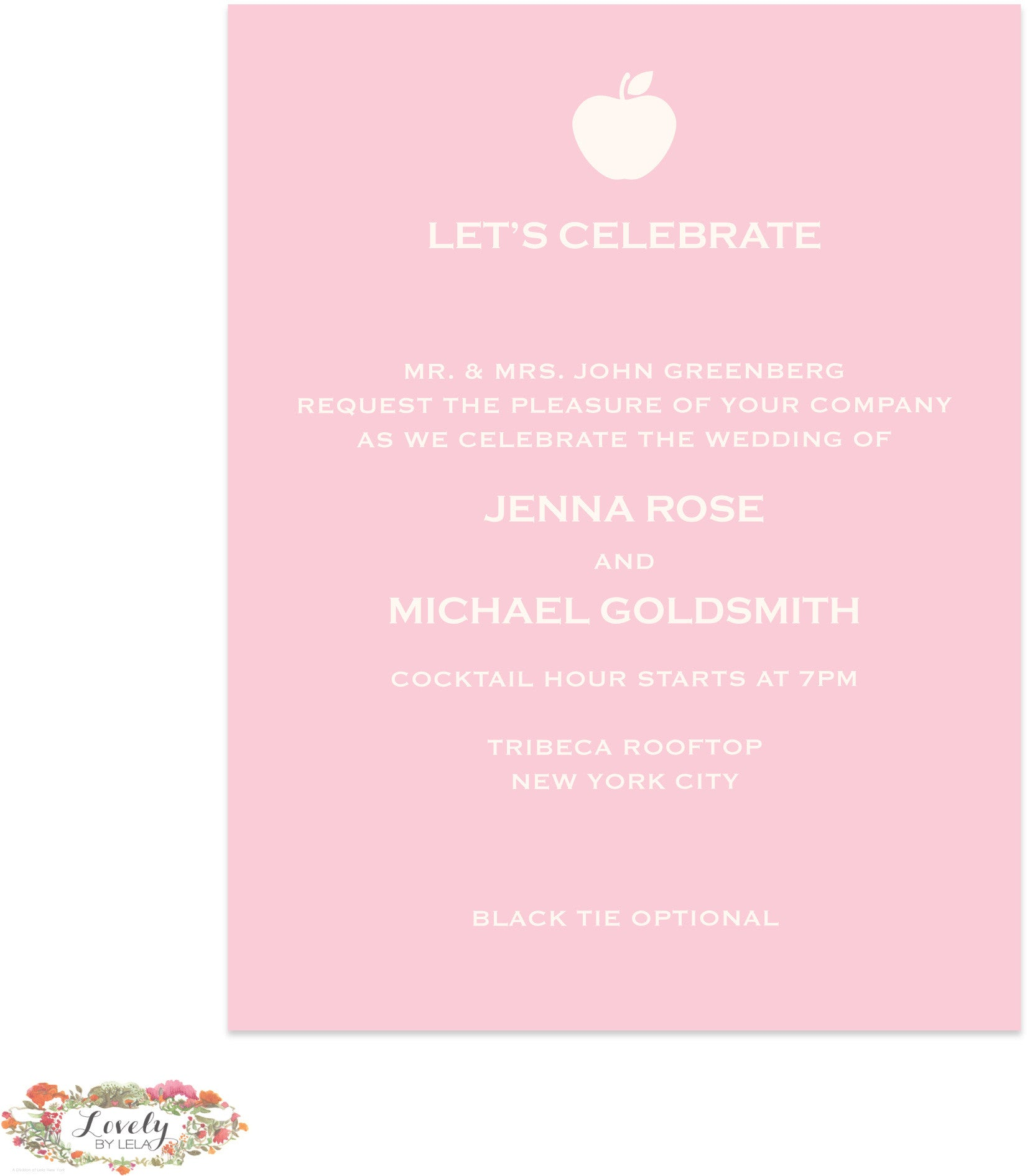 New York LOVE Wedding Reception Card