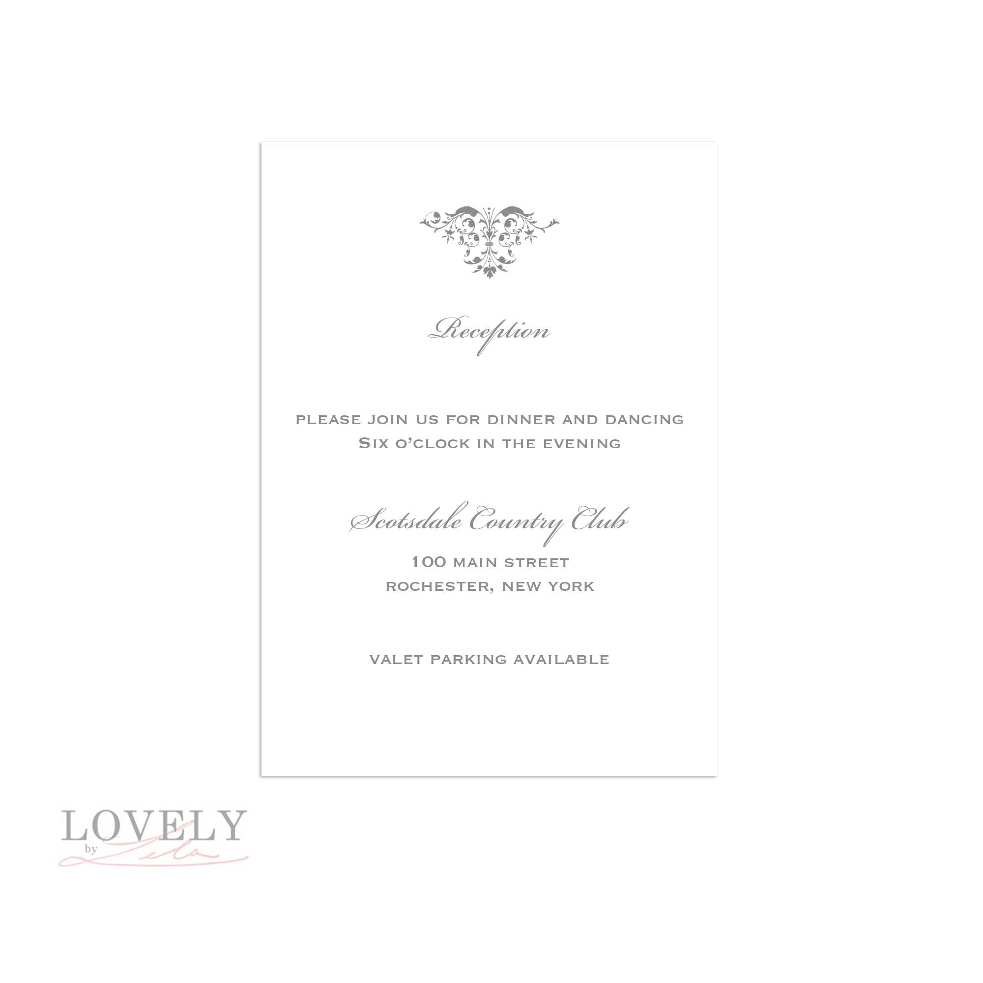 Reception Card for inside of Boxed Invitations