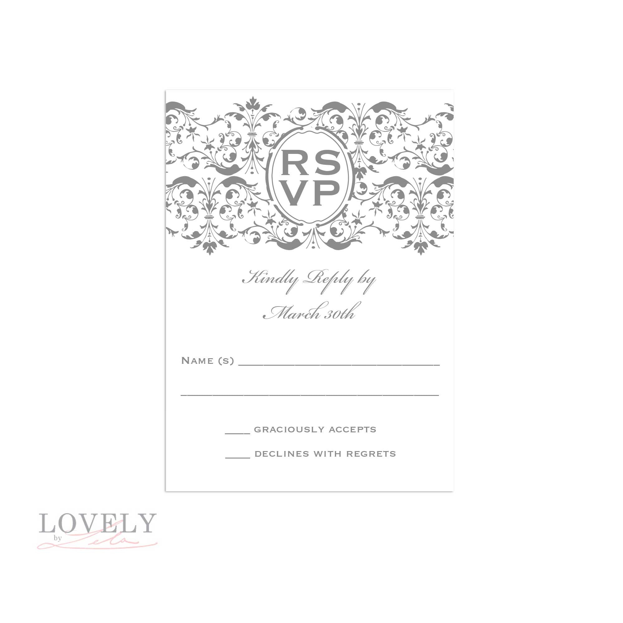 RSVP Card for inside of Boxed Invitations