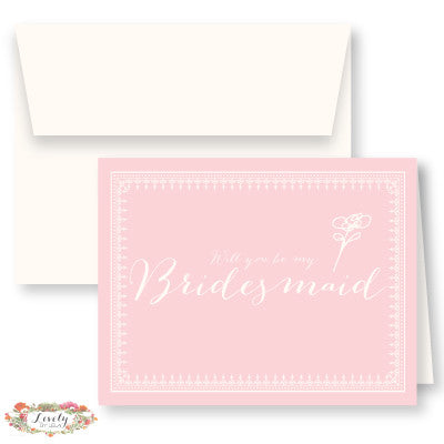 Will You Be My Bridesmaid Note Cards - Blush