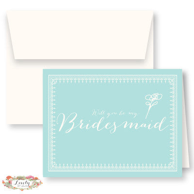 Will You Be My Bridesmaid Note Cards - Aqua