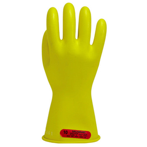 "Salisbury E011Y 1,000 volt class 0 11"" yellow rubber gloves"
