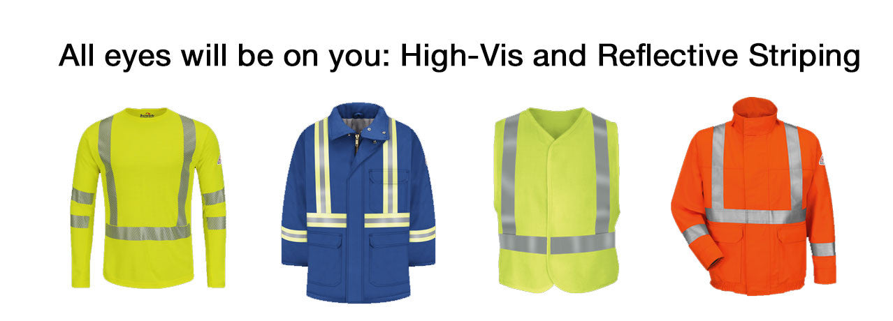 High visability clothing and reflective striping
