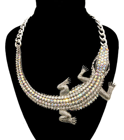 Bold Croc Necklace in Silver Tone with Boraelis Rhinestones