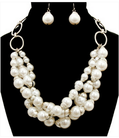 CLASSIC MULTI-STRAND PEARL NECKLACE AND EARRINGS SET