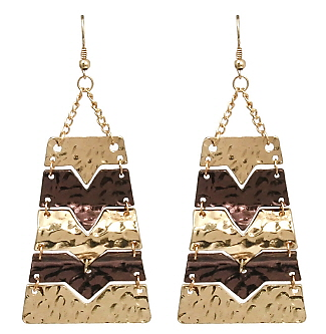 Multi-Color Hammered Statement Earrings in Gold/Chocolate Tone
