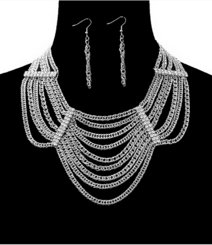 BOLD MULTI-LAYER CHAIN NECKLACE W/RHINESTONES & EARRINGS SET