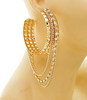 Hoop Hammered Earrings with Chain Accents in Gold & Rhinestone