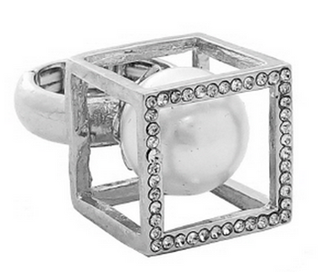 GLAM-IT-UP! SQUARE DOME RING WITH PEARL CENTER STONE AND RHINESTONE ACCENTS