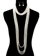 HAUTE COUTURE MULTI-STRAND PEARL STATEMENT NECKLACE AND EARRINGS SET