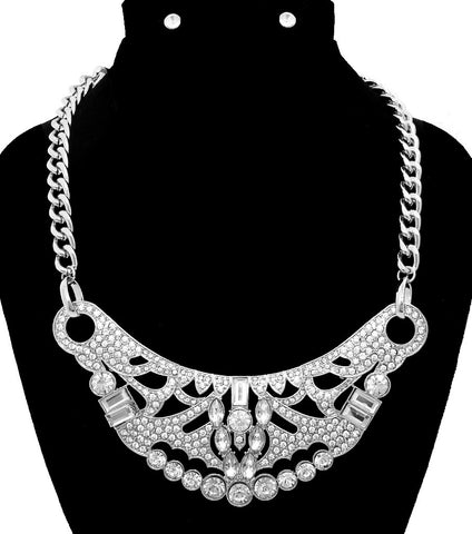 BOLD & GLAMOUROUS CLASSIC HOLLYWOOD NECKLACE W/RHINESTONES
