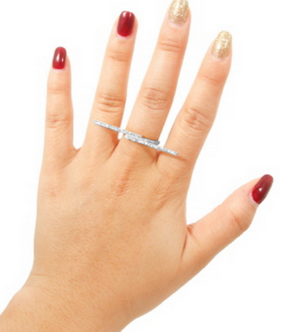 MODERN EDGE'S BAR RING with Rhinestone Accents in Silver Tone