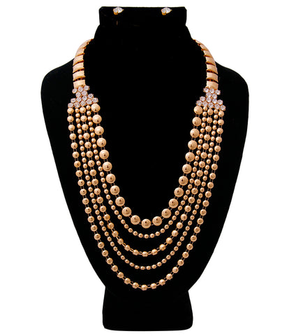 Urban Glam's Mod Deco Art Statement Necklace & Earrings Set in Gold Tone with Rhinestones