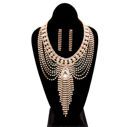 Urban Glam's Bold Entrance Necklace & Earrings Set in Gold-Toned & Rhinestone