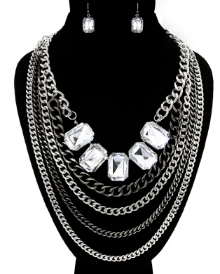 Necklace & Earrings Set:  Silver & Black Metal Multi-Color Bold Chain with Square Rhinestones